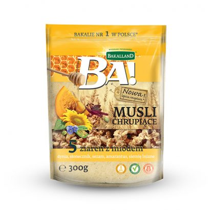 Bakalland BA! Crunchy Muesli 5 Seeds with Honey 300 gram