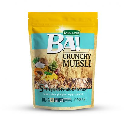 Bakalland BA! Crunchy Muesli 5 Tropical Fruits & Honey 300 gram