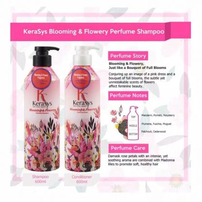 Kerasys Perfumed Shampoo Blooming & Flowery 600 ml & Kerasys Perfumed Rinse Blooming & Flowery 600 ml