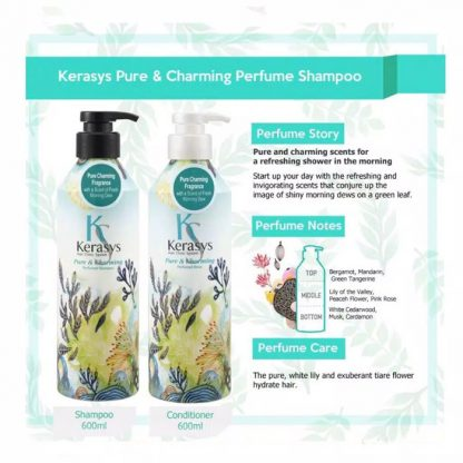 Kerasys Perfumed Shampoo Pure & Charming 600ml & Kerasys Perfumed Rinse Pure & Charming 600ml